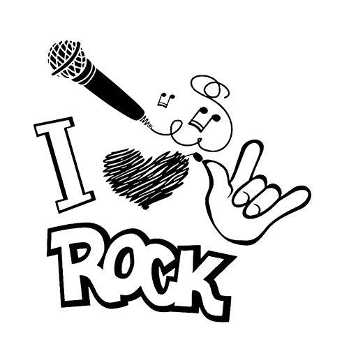 13.9CM*14.1CM Muziek Ik hou van Rock Microfoon Geest Zwart/Zilver Auto Sticker