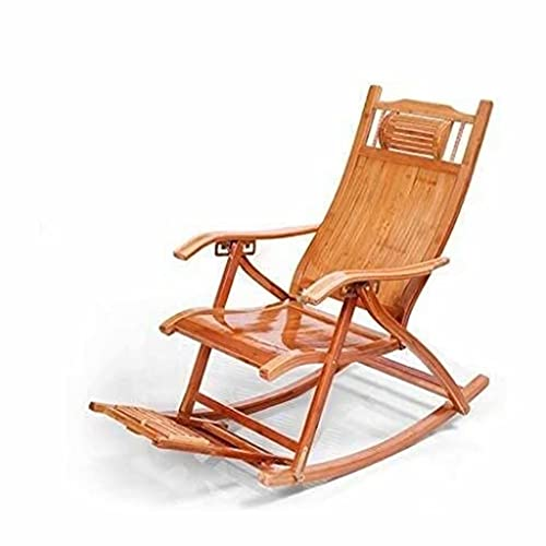 Silla de bambú Mecedora Plegable para Adultos sillón reclinable balcón Silla de Siesta Perezosa Silla de Sol Plegable de Ocio para Ancianos