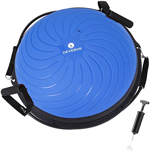 DEVEBOR Half Balance Ball Trainer with Pump Yoga Exercise Ball forYoga Fitness Home Gym Workout (Blue)