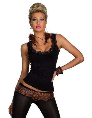 Fashion4Young Damen Träger-Top Spitze Shirt verfügbar in vielen Farben (L/XL 38/40, Schwarz)
