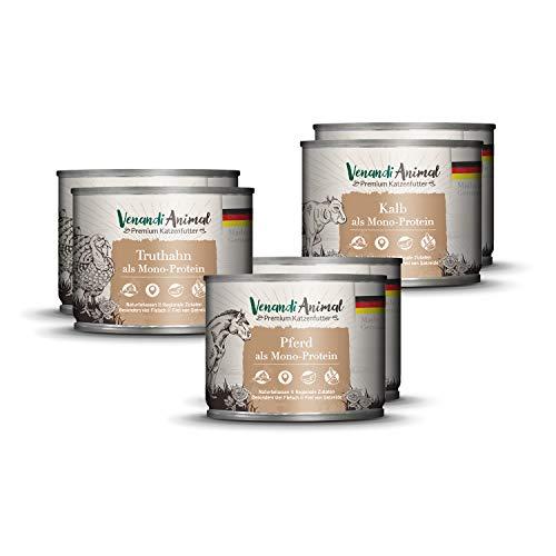 Venandi Animal Premium Nassfutter für Katzen, Probierpaket II, Pferd, Kalb, Truthahn, 6 x 200 g, getreidefrei und naturbelassen, 1.2 kg