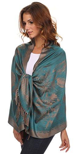 Sakkas CLDHS152 Afrota Blumenpaisley gewellter Rahmung Pashmina/Schal/Wrap/Stole - Teal - One Size Regular