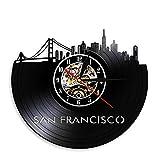 YINU San Francisco Skyline Reloj de Pared con Registro de Vinilo EE. UU. SF...