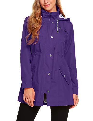 ZHENWEI Womens Lightweight Hooded Waterproof Active Outdoor Rain Jacket Purple M