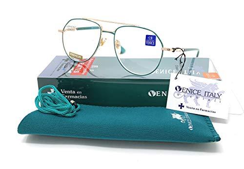 Leesbril voor dames, modieus design, in de kleuren: groen, rood. VENICE Aviator Dioptrieën 1-3,5 +3,50 Celeste Y Blanco