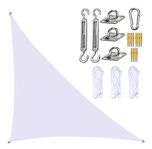 Toldo de vela de jardín, triángulo con kit de fijación, 3 cuerdas, impermeable, bloque UV, sombra de jardín en ángulo recto, toldo para patio al aire libre (blanco, 3 m x 4 m x 5 m)
