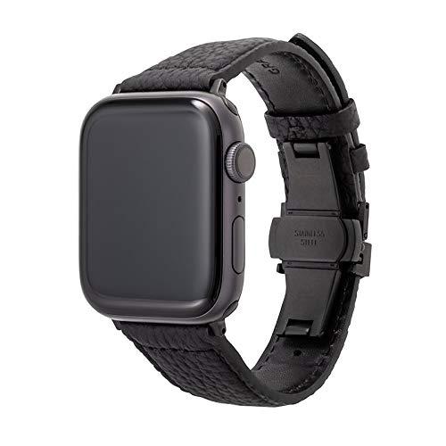 【GRAMAS】 Apple Watch バンド ブラック 本革レザー シュランケンカーフ コンパチブル ビジネススタイル アップルウォッチ バンド apple watch series6/SE/5/4/3/2/1 (44/42mm) 手首周り 約155〜195mm 対応