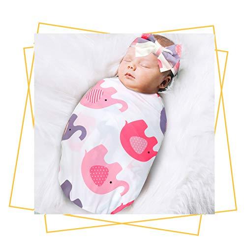 Newborn Receiving Blanket Headband Set - Unisex Soft Baby Swaddle Girl Boy Gifts (Elephant)