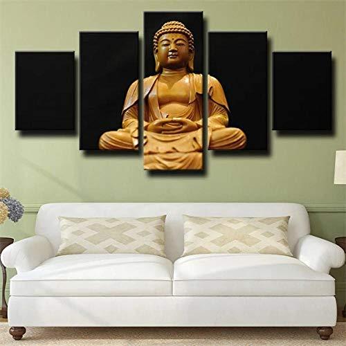 Cuadros Decoracion Salon Modernos Woodcarving Figure Buddha Black 5 Piezas Lienzo Grandes XXL Murales Pared Hogar Pasillo Decor Arte Pared Foto Innovador Regalo