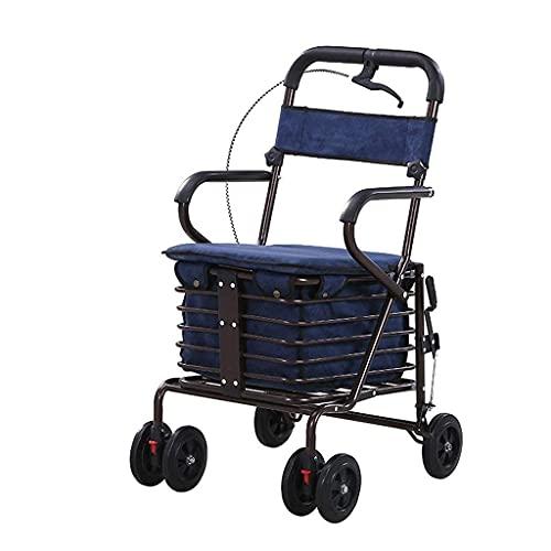 Einkaufswagen Bequemer Einkaufswagen Älterer Trolley Roller Gehhilfe Sitzen und Zusammenklappen Einkaufswagen Trolley Home Kletterwagen