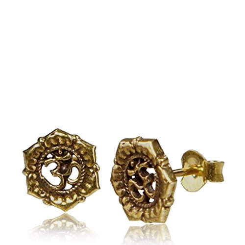CHICNET Brass Ohrstecker OM Zeichen Blumenrand Seil 10 mm antik golden