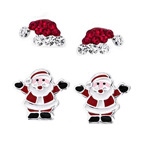 FIVE-D 2 Paar Ohrringe Weihnachten Nikolaus Mütze und Weihnachtsbaum 925 Sterling Silber im Schmucketui (Weihnachtsmann)