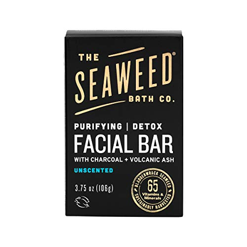 The Seaweed Bath Co. Purifying Detox Facial Bar Soap, Unscented, With Natural Organic Seaweed, Charcoal, Vegan, Paraben Free, 3.75 oz.