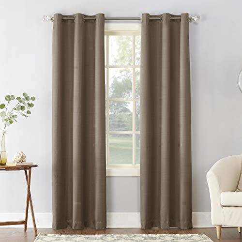 "Sun Zero Cooper Thermal Insulated Room Darkening Grommet Curtain Panel, 40"" x 95"", Mocha"