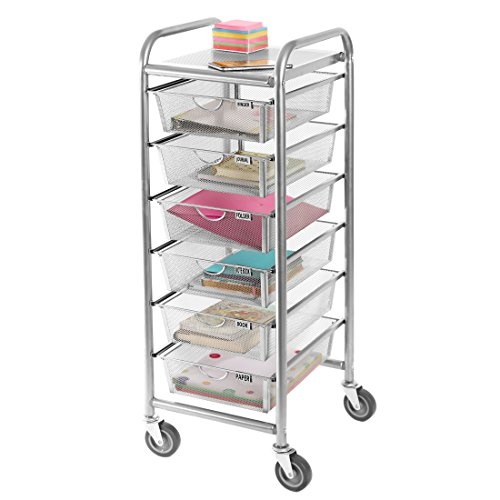 Seville Classics 6-Drawer Steel Mesh Multipurpose Mobile Rolling Utility Storage Organizer Cart, Satin Pewter