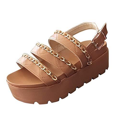 Sandales compensées à talon bas pour femme - Style décontracté - À lanières, marron, 38 EU