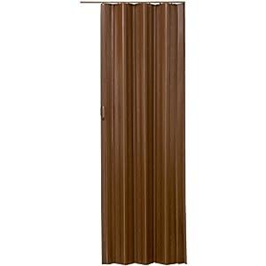 tectake 800053 Puerta Plegable Corredera de PVC, Impermeable, Interior Habitación Espacio, Mueble Separador de Hogar, Cierre Magnético, Altura Ajustable, Nuevo (Teca)