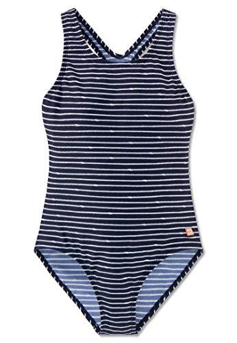 Schiesser Mädchen Badeanzug, Blau (Dunkelblau-Gem. 835), 140
