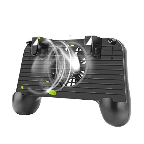 QCHEA Einfacher mobiler Gamecontroller, Handyspiel löst empfindliche Zieltasten aus , Gametrigger-Joystick Gamepad-Griff for 4-6,5-Zoll-Smartphone mit Lüfter