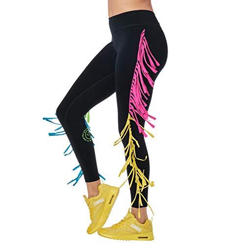 Zumba Fitness Leggings con Stampa a Compressione per Allenamento a Fascia Larga Pantaloni Donna, Bold Black A, XS