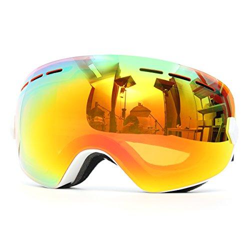 WCHAOEN Snowboard Skibrille Anti Fog UV-Schutz Doppelscheibe Motorrad Sportbrille Weißer Rahmen Ersatzteile