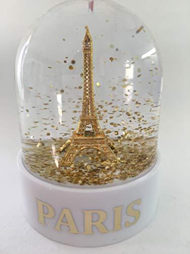 VIANAYA Boule de Neige Tour Eiffel de Paris - Taille Mini 6CM - Socle Blanc Plastique de qualité - Boule avec Une Tour Eiffel dorée - Paillettes dorées- Made in France