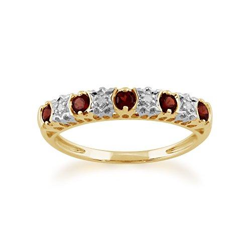 Gemondo Garnet Ring, 9ct Yellow Gold 0.30ct Garnet & 2pt Diamond Half Eternity Ring