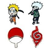 MayDee 4 pcs Ninja broches Uzumaki Naruto Burning Konoha Uchiha Clan Insignias de Dibujos Animados