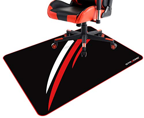 GTRACING Gaming Chair Mat for Hardwood Floor 43 x 35inch Office Computer Gaming Desk Chair Mat for Hard Floor Red