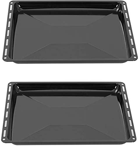 ICQN Juego de bandejas de horno de 422 x 370 x 31 mm, aptas para AEG & IKEA, esmaltadas para horno, resistente a arañazos y inoxidable, 42,2 x 37 x 3,1 cm