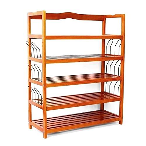 5Tier Organizer, 100% naturlig enkel träarrangör, med 6 par skoform, stapelbar arrangör, Entryway Organizer, liten arrangörträ, skoställ för garderober, skorställ, skostativ
