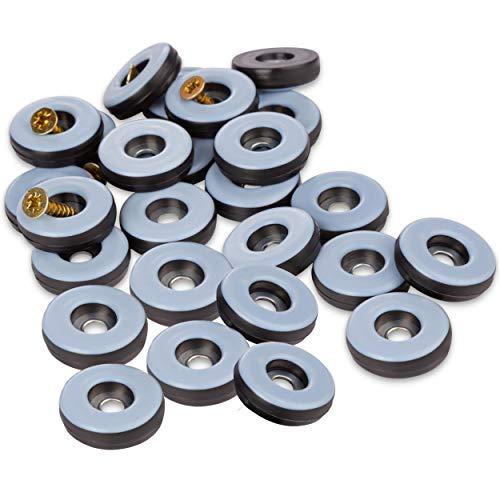 Filzada 26x Teflongleiter zum Schrauben - Ø 38 mm (rund) - Möbelgleiter/Teppichgleiter PTFE (Teflon) inkl. Schrauben