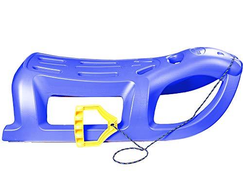 Ondis24 Schlitten Seelöw für Kinder Rodel mit Metallkufen Rennrodel Bob mit Zugseil für Kinder ab 3 Jahre (Blau)
