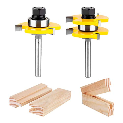 KOWOOD Tongue and Groove Set of 2 Pieces 1/4 Inch Shank Router Bit 3 Teeth Adjustable T Shape Wood Milling Cutter