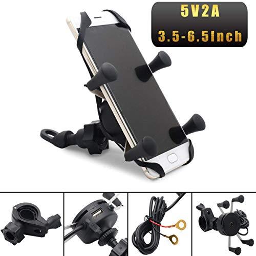 DULALA Soporte de Montaje para teléfono móvil Anti-Shake Rotación Universal X Grip Carga USB Reino Unido para Bicicleta Bicicleta Moto Bicicleta de montaña Montaje de Todos los manillares