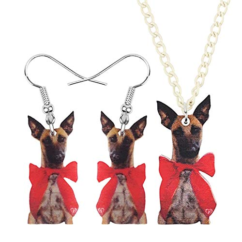 YGDH Acrylic Christmas Bow-knot Dog Jewelry Set Necklace Earrings Animal Decoration Jewelry Women Girl Teen Accessory (Color : A)