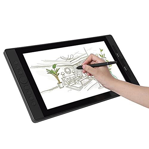 Tableta gráfica de dibujo con pantalla, 15.6 pulgadas 1920 * 1080p Pantalla IPS Tabletas gráficas de computadora LCD inalámbricas con lápiz pasivo 8192 niveles de presión, para arte y animación(EU)
