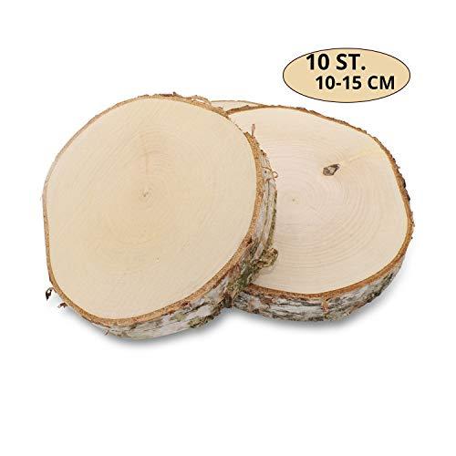 GREENHAUS XXL Birkenscheiben aus Deutschland 10-15 cm 10 Stück geschliffen Holzscheiben Baumscheiben Baumstamm Holzdeko