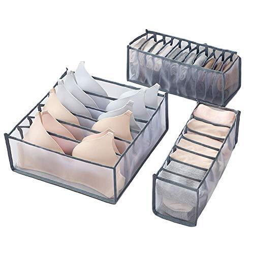 PUTAOYOU Organizador de cajones de Ropa Interior, Cajas de Almacenamiento de Armario Plegable, divisores de Almacenamiento de cajones para STO Socks PANGY, 3pcs / Set (Color : Grey)