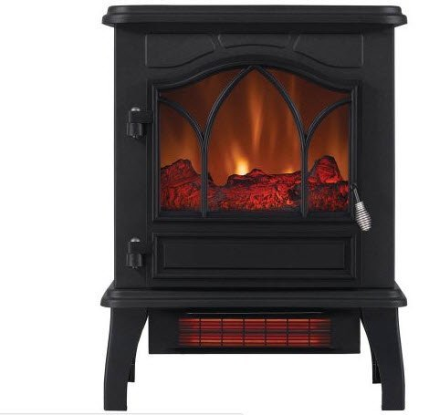 ChimneyFree Electric Infrared Quartz Stove Heater, 5,200 BTU, Black Metal (Black Metal)