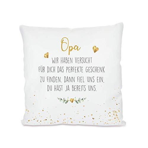 """Manufaktur Liebevoll I Kissen """"Opa, wir haben versucht I Geschenk für den Großvater, Opi I Besondere Geschenkidee als Dankeschön, zum Geburtstag und zu Weihnachten I 40x40 cm"""