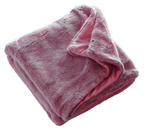 TOM TAILOR Tender Sofadecke rosa • weiche Kuscheldecke • Tagesdecke 130x170 cm • Leicht zu pflegene Couchdecke • 100prozent Polyester