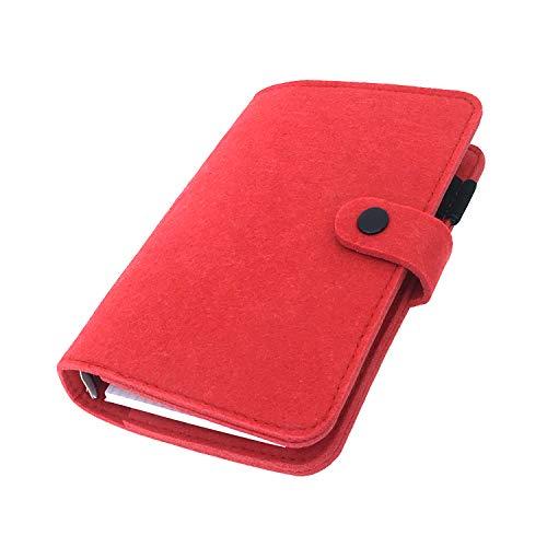 手帳 バインダー紐 システム カバー6穴 フェルト マテリアルシステムハンドブックビジネス学生6リングA5 A6ペンカード入れ, Red 30, A6 mini set