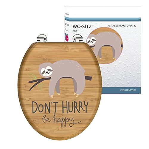 SCHÜTTE WC-Sitz DONT HURRY mit Absenkautomatik aus Holz, Toilettensitz mit Klodeckel, Holzkern Toilettendeckel mit Motiv (maximale Belastung der Klobrille 150 kg), Bambus Optik