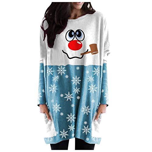 Lazzboy Pullover Damen Sweatshirt Plus Size Frauen Langarm Weihnachtsschneemann...