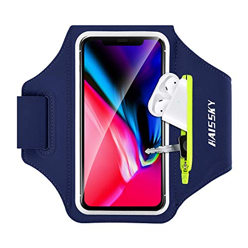 Brazalete Deportivo para Correr con Airpods Holder, Brazalete Móvil Deportivo para iPhone 11 Pro MAX/ 11 Pro/XS MAX/XR/ 8 Plus/ 8 Galaxy S9/ S8 Plus Huawei P20 hasta 6.8'- Azul Oscuro