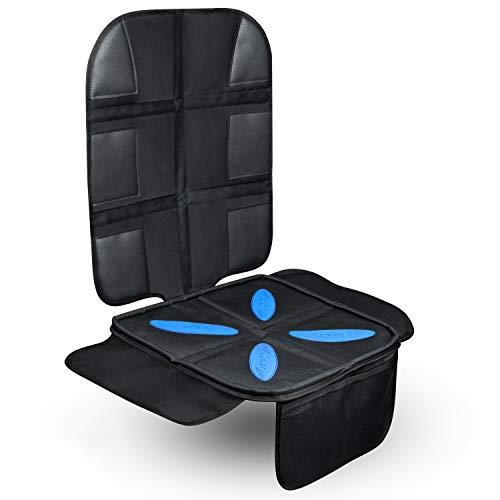 AUKNEY® Kindersitzunterlage - Premium Autositzschoner mit Silikonstreifen - ISOFIX geeignet - clevere Umrandung hält Ihre Autositze sauber (Schwarz)