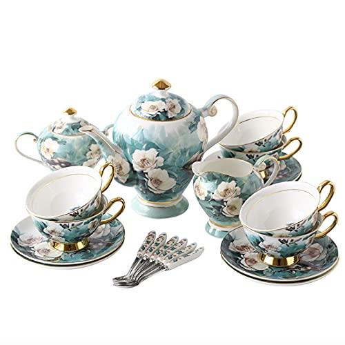 21 Pieces British Porcelain Tea Sets Vintage Flowers Bone China Coffee Set Afternoon Tea Set Wedding Tea Service For Adults