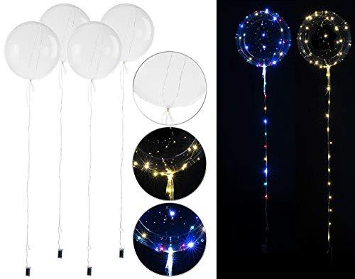 PEARL Luftballons Hochzeit: 4er-Set Luftballons mit Lichterkette, 40 weiße & 40 Farb-LEDs, Ø 25 cm (LED-Luftballon transparent)
