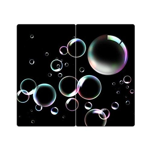 Herdabdeckplatten aus Glas m. Noppen von DekoGlas 2er-Set Herdabdeckung Schneidebrett Spritzschutz Seifenblasen